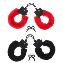 Пластиковые красные наручники с мехом